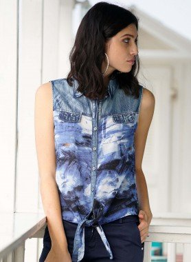 Gilet-Bluse, Jeans Look