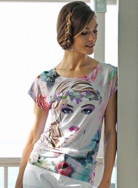 Shirt maniche corte,  viso/fiori/farfalle