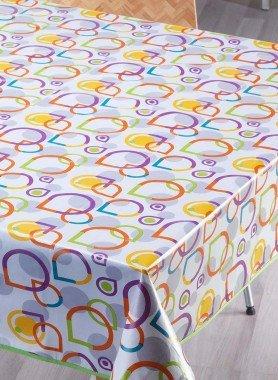 Tovaglia plastificata,   anelli di colore