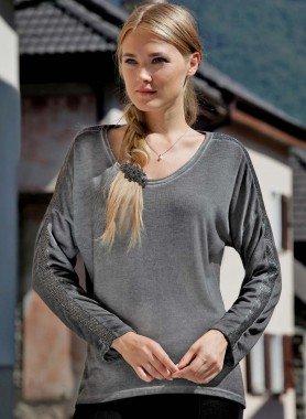 Shirt, stone-washed, lurex