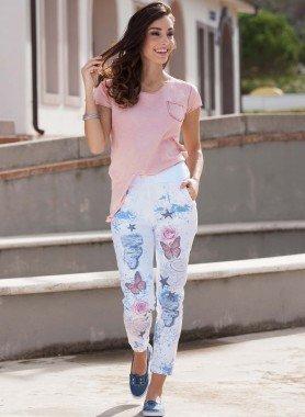 Pantaloni, rose/farfalle