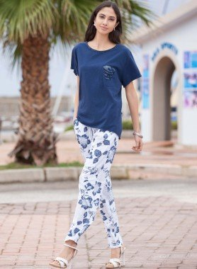 Pantaloni, fiori stampati