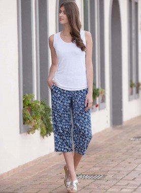 Pantaloni Capri, motivo floreale