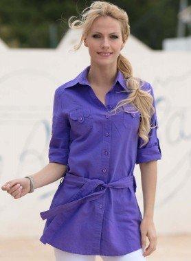 Camicia lunga in lino/cotone