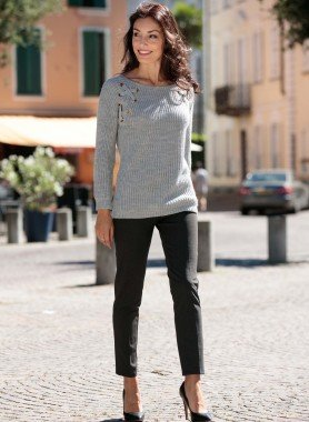 Pantaloni stretch, stampa minimal