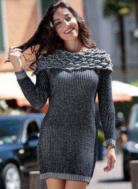 Strick-Kleid, Kragen