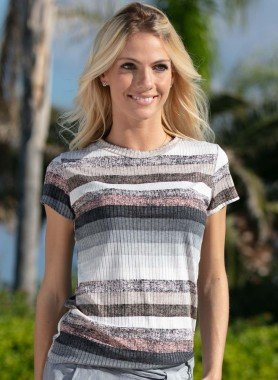 Shirt con maniche corte, righe a colori