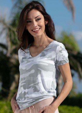 Shirt con maniche corte, stampa mimetica