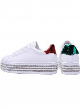 Sneaker, Lyrex, rot/grün