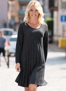 Langarm-Plissee-Kleid