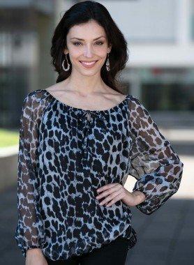 Blusa, stampa leopardo