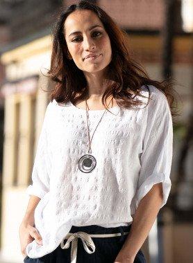 Shirt cotone/lino, collana inclusa