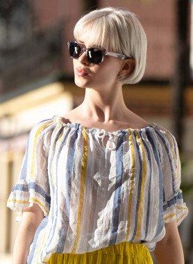 Blusa a righe, cotone/lino