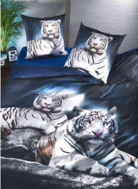 """Parure da letto, stampa digitale """"WHITE-TIGER"""""""