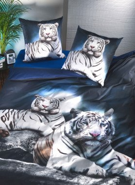 "Parure da letto, stampa digitale ""WHITE-TIGER"""