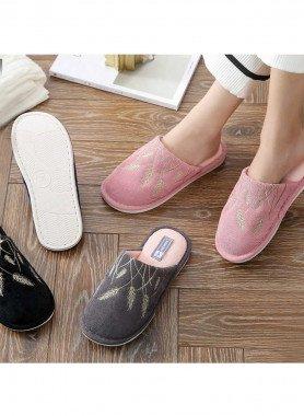 Pantofole da donna, spighe ricamato