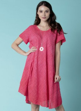 Kurzarm-Kleid, Leinen-Optik