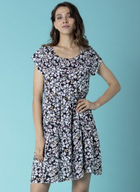 Kurzarm-Kleid, Floral-Print