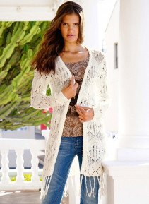 D-Cardigan,Fransen offwhite S 212 - 1 - Ronja.ch