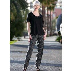 Pantaloni comodi,stampa/pois