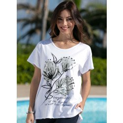 Shirt maniche corte, motivo floreale