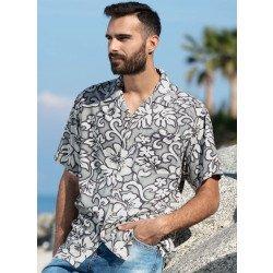 Camicia, stampa floreale grigio