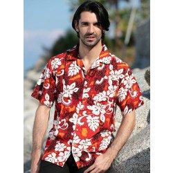 Camicia, stampa floreale, rosso